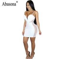 Abasona Women Summer Dress 2017 Spaghetti Strap Bodycon Mesh Dress Backless Zipper V Neck Women Club