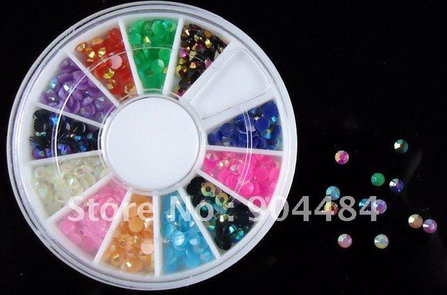 300pcs Pearl Color Acrylic AB Crystal Round Daimond +Wheel For Nail Art Beauty Design Decoration Perfect Products Wholesale 054