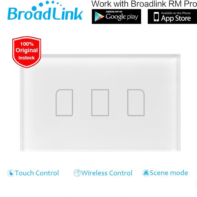 Ee.uu. estándar rm pro inteligente broadlink tc2 3 gang interruptor wifi pantalla táctil de luz de pared interruptor de control remoto domótica