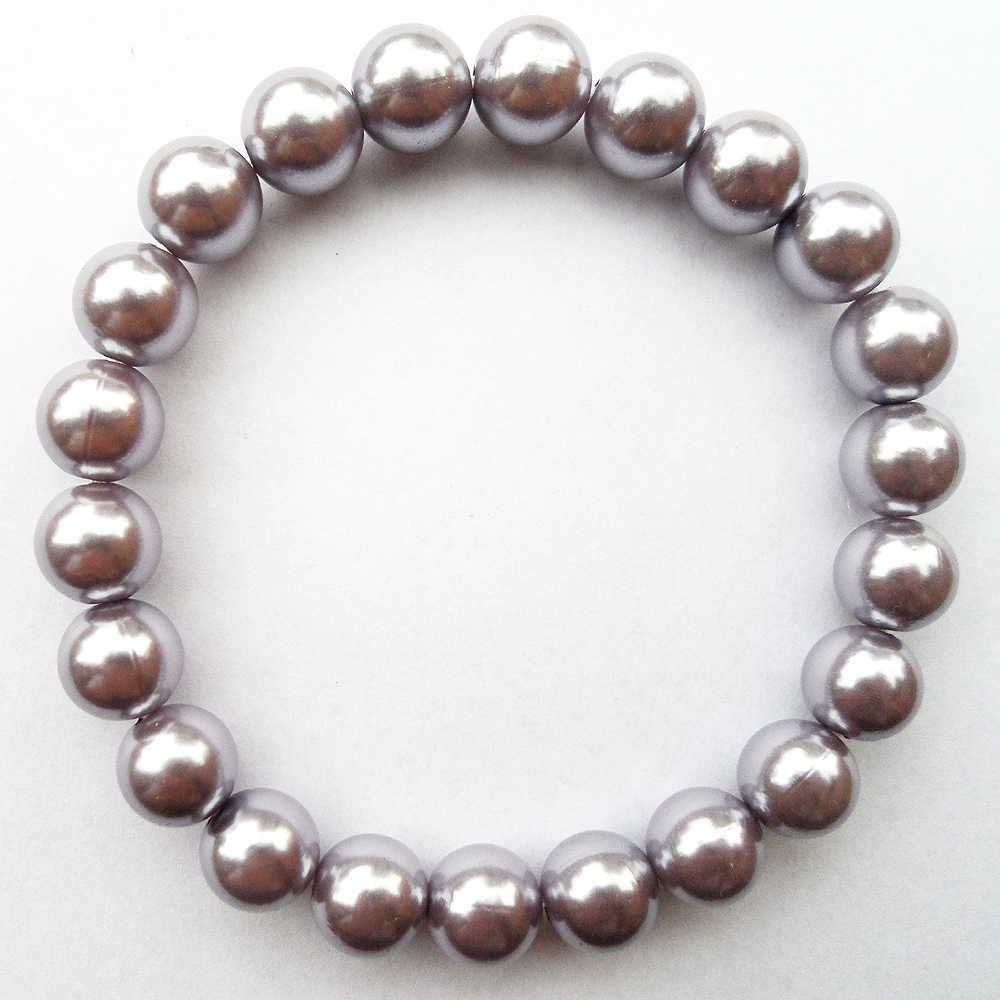 {Fashion Light purple 10MM Pearl bracelet, Light purple Imitation pearl bracelet,Light purple Plastic bead bracelet  jewelry