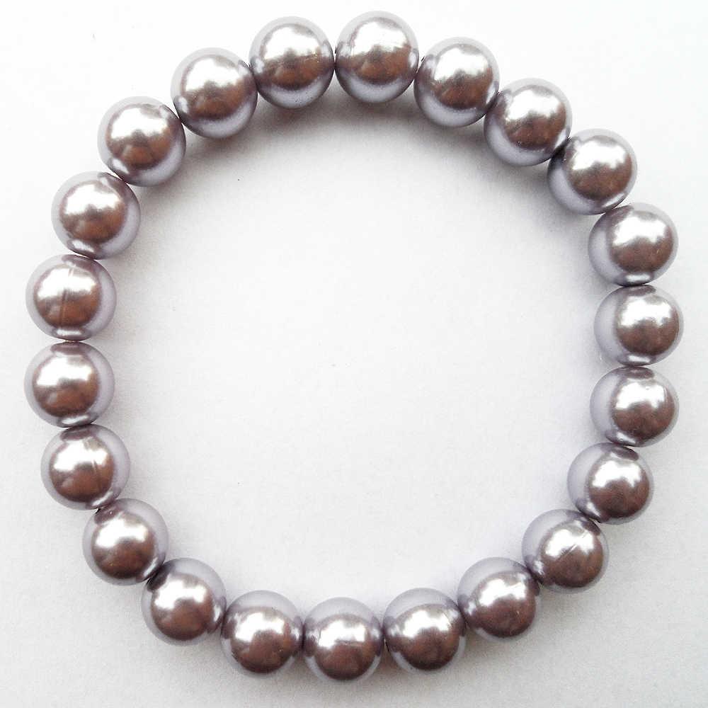 {Modne oświetlenie fioletowa bransoletka perłowa 10 MM, jasnofioletowa sztuczna bransoletka perłowa, jasnofioletowa plastikowa bransoletka z koralików