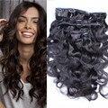 Malasia onda del cuerpo clip en extensiones de cabello humano 7 unids natural negro clip en extensiones virginales del pelo 12 '' - 26 '' 120 g envío gratis