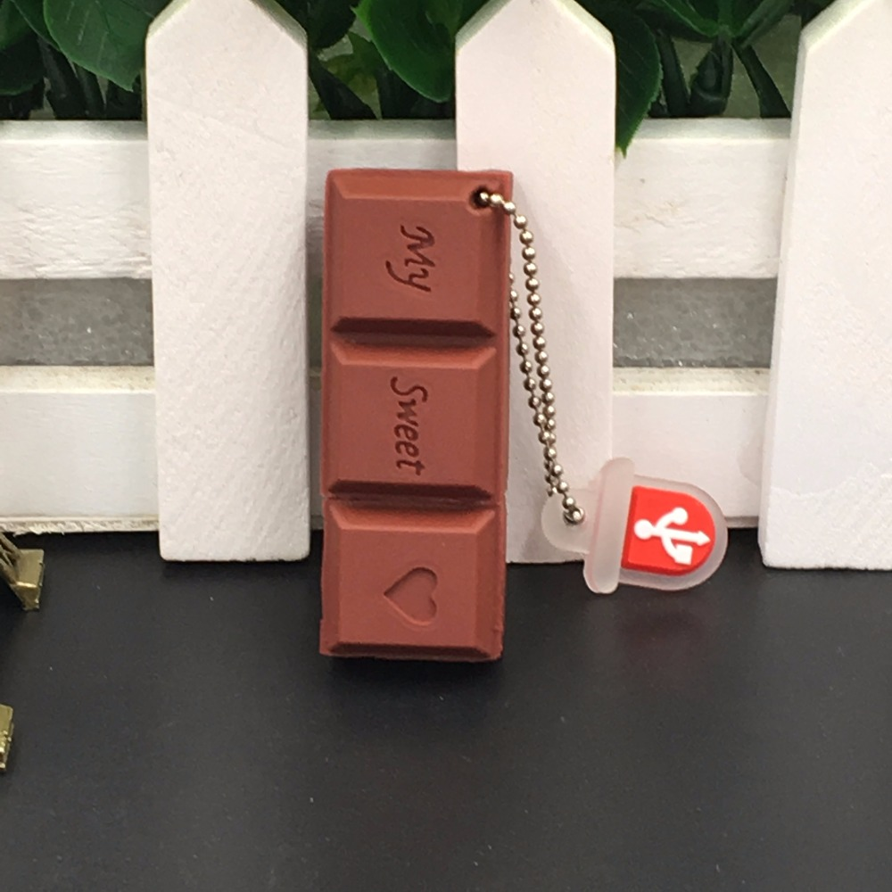 Flash USB Drive Cartoon Love Sweet Chocolate Flash Drive 4GB 8GB 16GB 32GB 64GB USB 2.0 Flash Memory Stick Flash Drive Pendrive