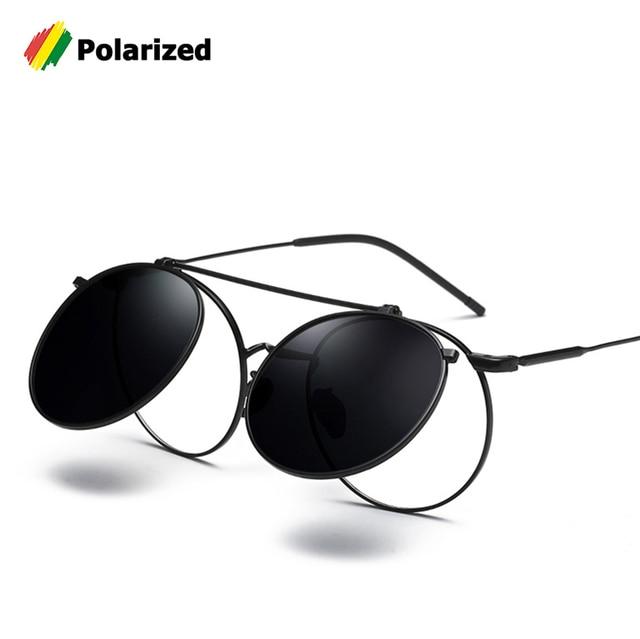 8609d8cde5 JackJad Vintage SteamPunk Round Metal Style POLARIZED Sunglasses Flip Up  Clamshell Brand Design Sun Glasses Oculos