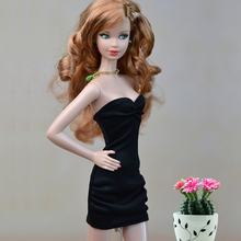 Black Little Dress For Barbie Doll Sexy Off Shoulder One Piece Evening Dresses Vestidoes Clothes For
