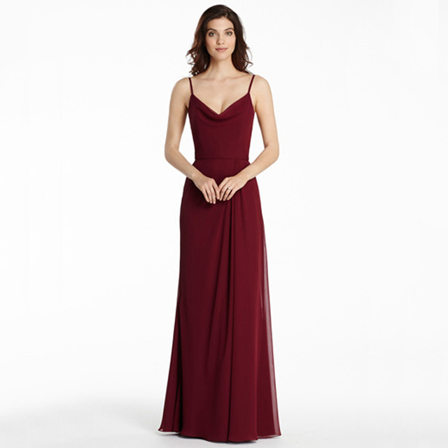 edb9011af86 BF9128 Hot Burgundry Long Bridesmaid Dresses 2016 Chiffon V Neck Spaghetti  Straps Wedding Guest Dress Formal Women Dress Wedding