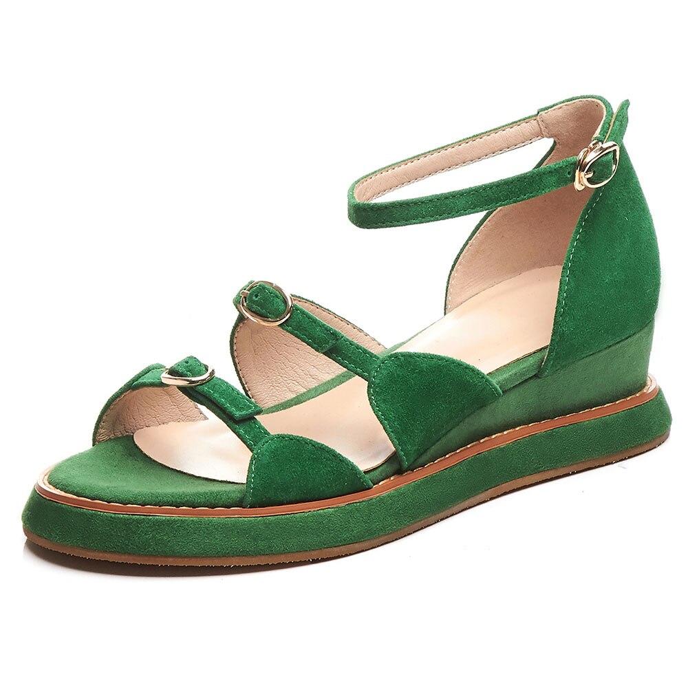 468c0a2bd3c713 Femmes D'été Navette Plate Compensées Leepo Quotidien Sandalias Bride  Sandales Femme À Cheville Chaussures Vert Apricot vert forme ...