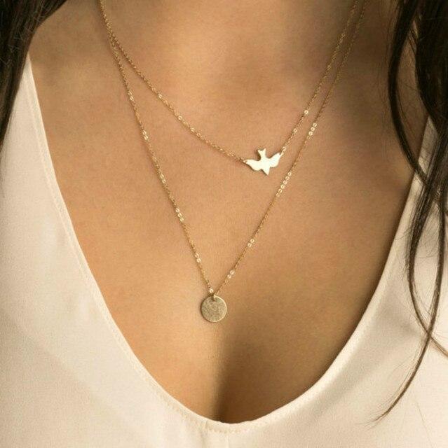 48ba01289360 2017 nueva moda doble capa oro delicado pájaro collar paloma collar  lentejuelas mujeres largo colgante