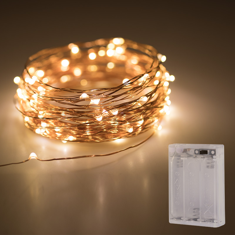 String Light Micro Copper LED Bead 1M/2M/3M/4M/5M AA Battery Operated Fairy Light For Xmas Party Holiday Home Bedroom Decoration