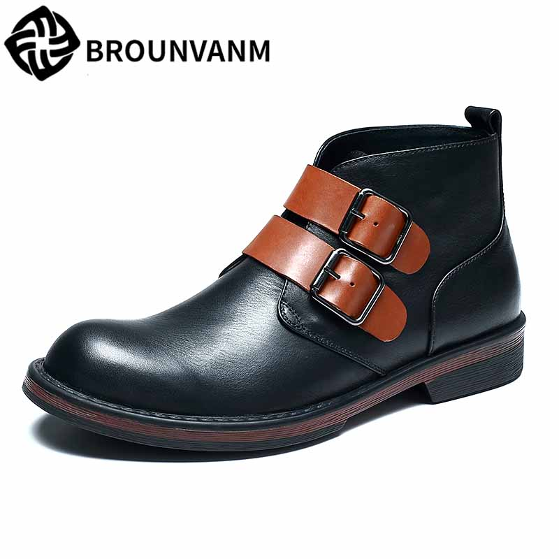 male real leather retro military boots British high top mens shoes autumn winter casual Martin boots men all-match cowhide army new winter boots martin male tide high velvet warm shoes men british short boots all match cowhide cashmere men s casual shoes