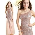 Bastante Barato 2015 La Moda de Nueva Llegadas Mujeres Sexy Vestido de Lentejuelas Elegantes Vestidos de Un Hombro Formal Largo de Baile Vestido de La Celebridad