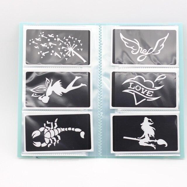 120pcs Small Glitter Tattoo Stencil Album PP120 Card Bit,Woman Kids Drawing Templates Airbrush Henna Tattoo Stencils Green Book