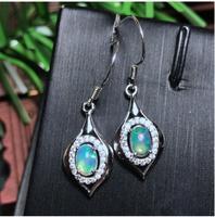 Opal earring Free shipping Nature real opal 925 sterling silverFine jewelry Gem Size 4*6mm