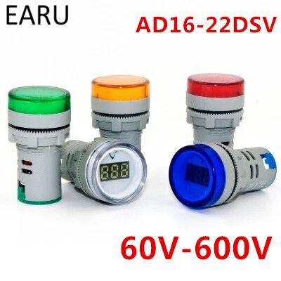 DIY 22MM Digital AC Voltmeter 60-500V White Red Green Yellow Blue Voltage Meter Gauge AD16-22DSV Digital Display Indicator Lamp 6l2 v panel ac voltmeter black white 0 450v