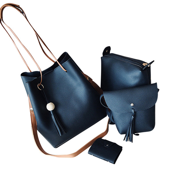 5aa52977ff6 Girl Shoulder Bag Four Set Fashion Women Handbag Four Pieces Tote Crossbody  Bag+Wallet bolsa
