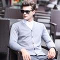 Весной и осенью разноцветные V-образным Вырезом сплошной цвет свитера верхняя одежда мужской кашемир кардиган трикотажные тонкий плюс размер свободной тонкий