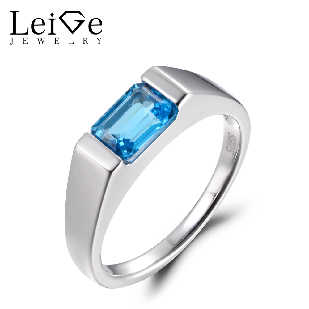 LeiGe Jewelry Genuine Swiss Blue Topaz Rings Engagement Rings November Birthstone Blue Gemstone Rings Solid 925 Sterling Silver LeiGe Jewelry Genuine Swiss Blue Topaz Rings Engagement Rings November Birthstone Blue Gemstone Rings Solid 925 Sterling Silver