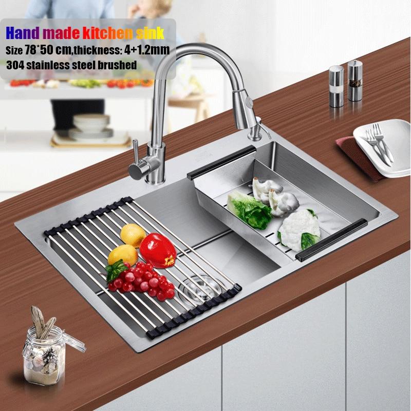 78*50 cm grand évier de cuisine en acier inoxydable brossé épaississement fait à la main unique bol réservoir d'eau accessoires complet