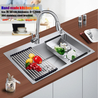 78*50 cm large stainless steel kitchen sink brushed thickening hand made single bowl water tank accessories complete