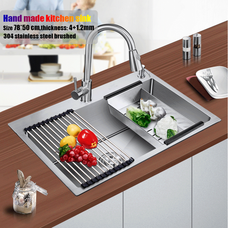 78*50 cm large stainless steel kitchen sink brushed thickening hand made single bowl water tank accessories complete swanstone dual mount composite 33x22x10 1 hole single bowl kitchen sink in tahiti ivory tahiti ivory