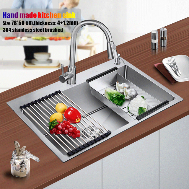 78*50 cm large stainless steel kitchen sink brushed thickening hand ...