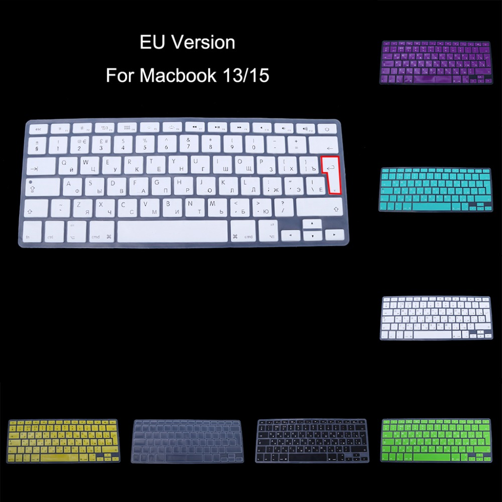 EU Version Russian Keyboard Silicone Skin Cover For Apple Macbook Air Pro 13 15 Protector Cover 8-Color C26