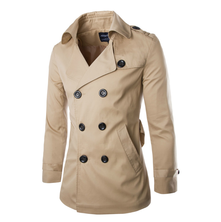 New Fashion   Trench   Coat Men England Style Double Breasted 100%Cotton Long Windbreaker Jacket Male Casual Classic   Trench   Coat