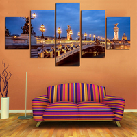Paintings Wall Art Oil Painting 5pcs Canvas Modern Wall Painting City Street Lamp Home Decoration On