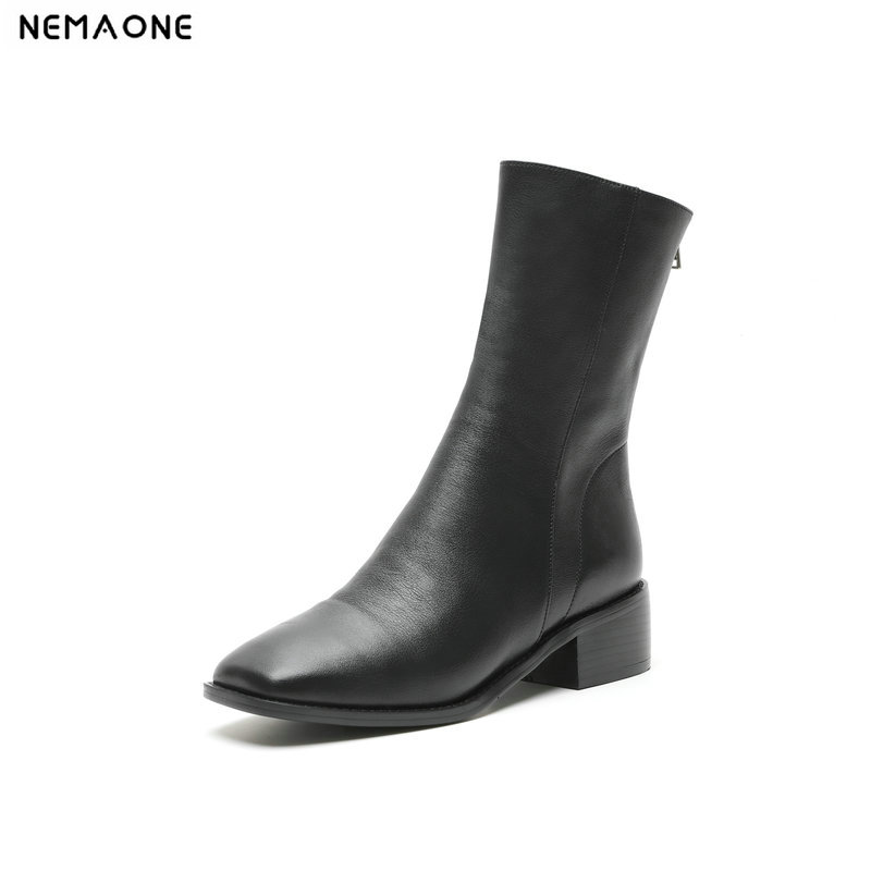 NemaoNe New 2019 Autumn Winter Genuine Leather Women shoes low heel Boots Fashion zipper Women Boots Woman Ankle BootsNemaoNe New 2019 Autumn Winter Genuine Leather Women shoes low heel Boots Fashion zipper Women Boots Woman Ankle Boots