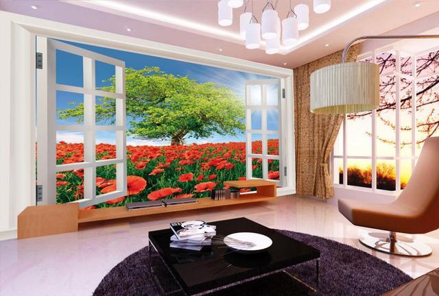 Pittura di paesaggio soggiorno finestra sfondo decorativo for Pittura moderna soggiorno