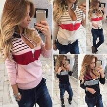 Women Stripe Print  Pullover Long Sleeve Round Zipper Collar Jaket Top