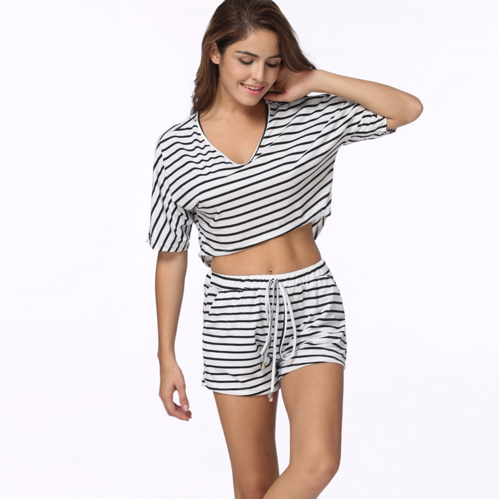 Casual Striped 2 Two Piece Set Womens Crop Top And Shorts Set 2019 Summer  Fashion Loose Ladies Suits Tracksuit Matching Sets c3a8a3f1b6