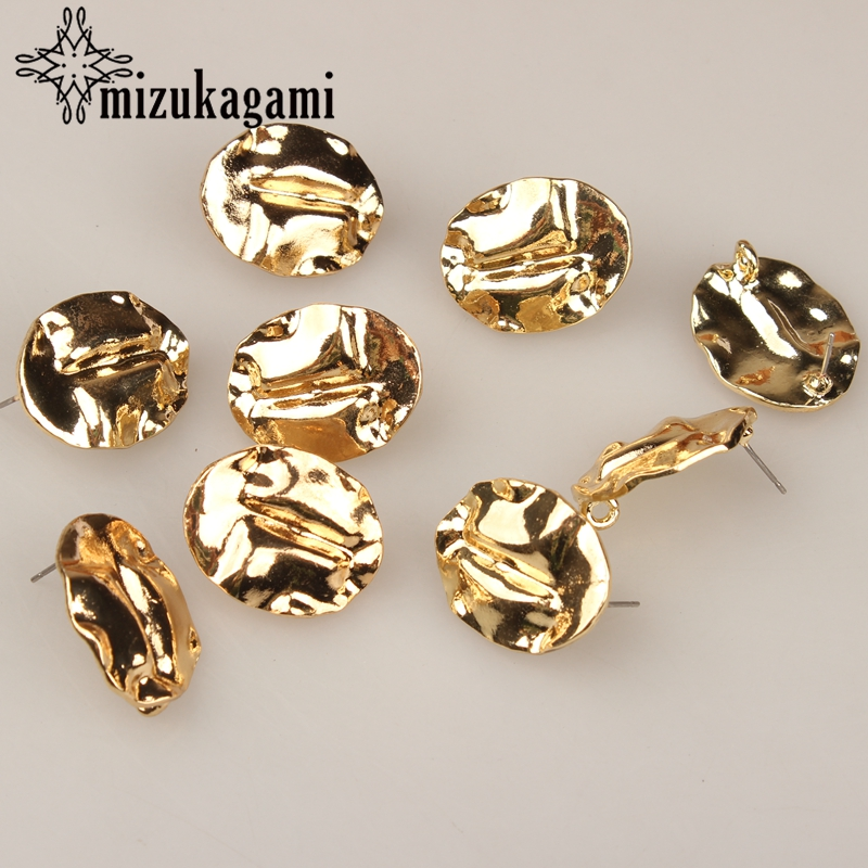 25*20mm 6pcs/lot Zinc Alloy Retro Gold Oval Exaggerated Earring Base Earring Connector For DIY Earrings Accessories