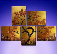 5pcs Set Oil Painting Modern Abstract Tree Landscape Huge Gold Paintings Home Wall Art Picture Indoor