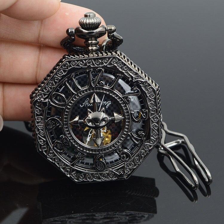 United Kingdom Bat Hexagon Skeleton Watches Steampunk Pocket Watch Antique Watch Black Half Hunter Mechanical Pocket Watch
