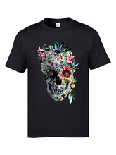 Retro Brand T-Shirts Memento dia de los muertos Flower Skull Tshirts Mens Cool Design Pure Cotton Crweneck Rose