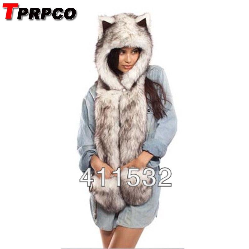 Fashion hat female winter animal cap faux fur one piece cartoon cap belt scarf Christmas gifts NL1211