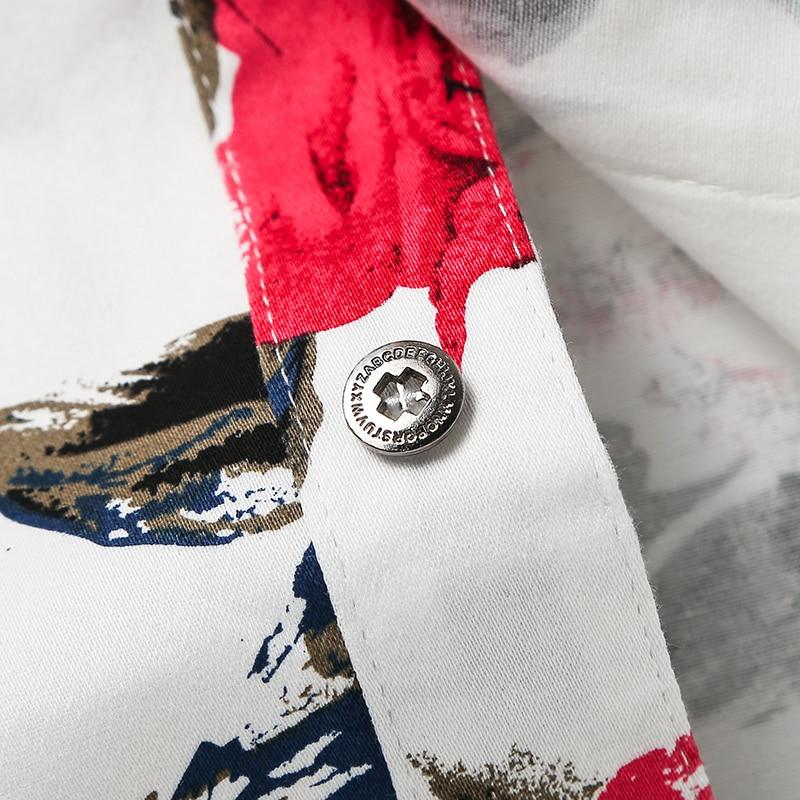Freizeithemd für Männer Rote Blumenmarke Bedruckte Hemden Modehemd - Herrenbekleidung - Foto 5