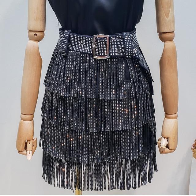 LANMREM 2020 קיץ חדש אופנה בגדי נשים חם קידוח גדילים Paillette חצאית עם חגורת מכירה לוהטת כל התאמה מכנסי YG97