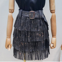 LANMREM 2020 Summer New Fashion Clothes For Women Hot Drilling Tassels Paillette Skirt With Belt Hot Sale All match Bottoms YG97