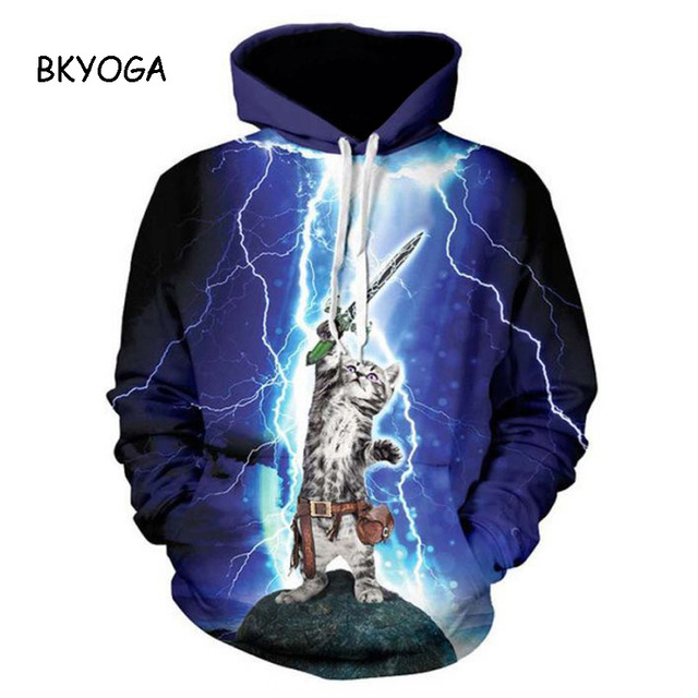 Thunder cat Sweatshirt cat lightning thunder 3d hoodie Women Men Sweatshirts harajuku hooded shirts Drop Ship