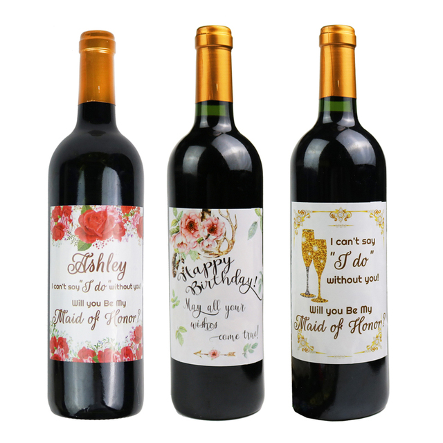 10pcs Set Creative New Wine Labels Happy Birthday Bottle Label For Party