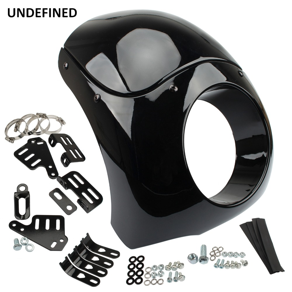Black Headlight Fairing Mount Kit Burly Brand Outlaw Fairing for Harley Dyna Sport Street Glide FXD FXR w/ 35mm-49mm Fork TubesBlack Headlight Fairing Mount Kit Burly Brand Outlaw Fairing for Harley Dyna Sport Street Glide FXD FXR w/ 35mm-49mm Fork Tubes