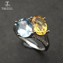 TBJ, Two color natural  gemstone Citrine and Topaz Ring in 925 sterling silver fine jewelry fashion Ring for girls with gift box tbj feather gemstone ring with natural ethopian opal good fire in 925 sterling silver fine jewelry for girls with jewelry box
