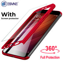 ESVNE 360 Full Cover Protective Phone Case For Xiaomi redmi Note 4X note 4 With Glass