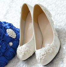 New coming fashion 2016 bridal shoes in stock quick shipping applique small flowers decoration brides shoe XNA 078