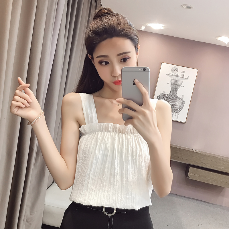 2018 New Summer Women Shirts Spaghetti Strap Slim Vest Black Fungus Outside Base Blouse Shirt White Blue 3646