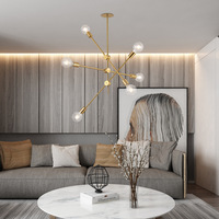 Brushed Brass chandelier Modern Metal Sputnik Chandelier Ceiling Pendant Lighting Fixture Nordic Postmodern style Hanging Lamp