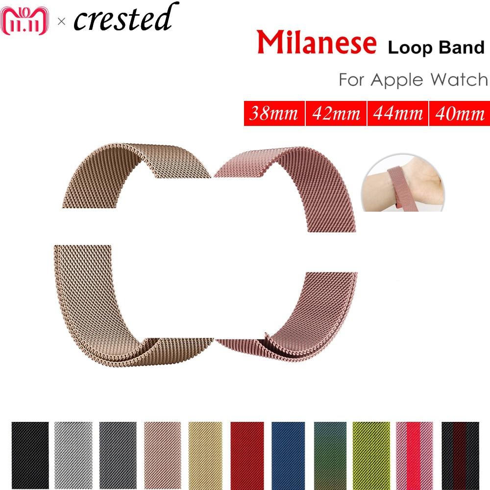 Correa de reloj Milanese loop para apple watch band 42mm/38/44mm/40 pulsera de metal de acero inoxidable para iwatch 4/3/2/1 Accesorios