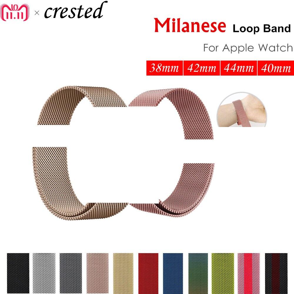 Milanese schleife strap für apple watch band 42mm/38/44mm/40 Edelstahl metall Armband armband für iwatch 4/3/2/1 Zubehör